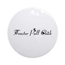Tractor Pull Chick Ornament (Round)