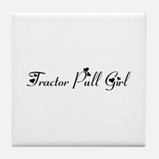 Tractor Pull Girl Tile Coaster