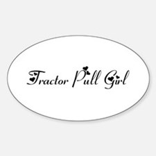 Tractor Pull Girl Sticker (Oval)