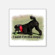 "I am the Boss Poodle Square Sticker 3"" x 3"""