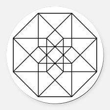 Geometrical Tesseract Round Car Magnet