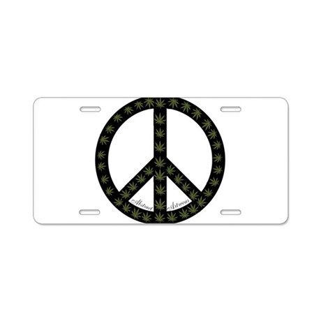 Pot and Peace Aluminum License Plate