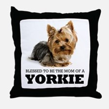 Blessed Yorkie Mom Throw Pillow