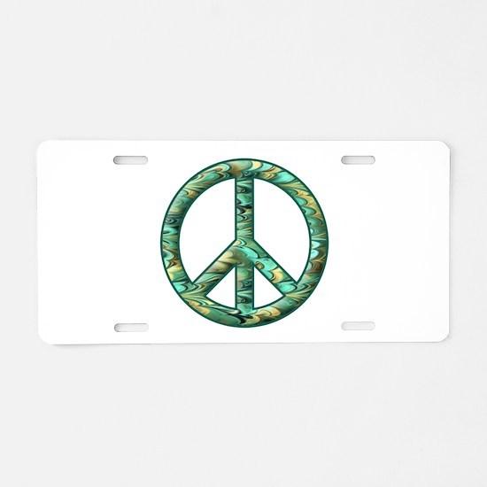 Peace Sign Aluminum License Plate