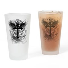 Cross Rose and Barbed Wire Drinking Glass
