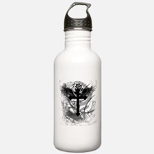 Cross Rose and Barbed Wire Water Bottle