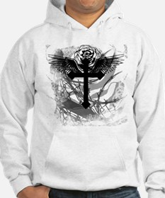 Cross Rose and Barbed Wire Hoodie