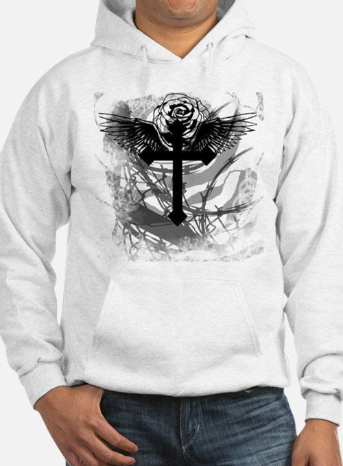 Cross Rose and Barbed Wire Jumper Hoody