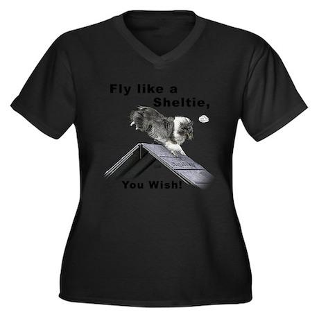 Shelties Fly- Agility Plus Size T-Shirt