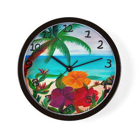 Tropical Floral Beach Wall Clock