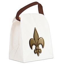 Gold Fleur De Lis Canvas Lunch Bag