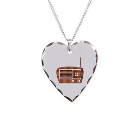 Vintage Radio Necklace Heart Charm