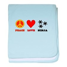 Peace Love Ninja baby blanket