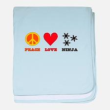 Peace Love Ninja baby blanket