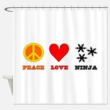 Peace Love Ninja Shower Curtain