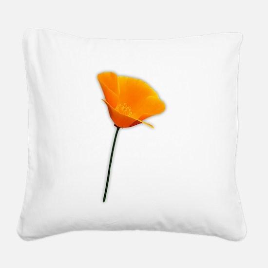 California Poppy Square Canvas Pillow