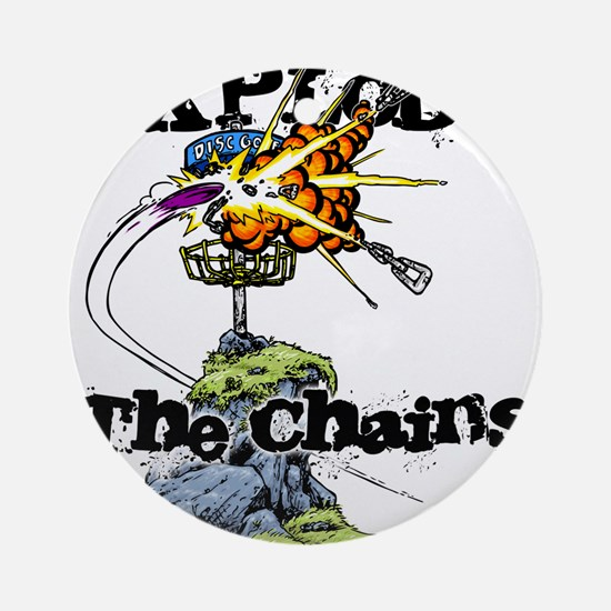 Disc Golf EXPLODE THE CHAINS Ornament (Round)