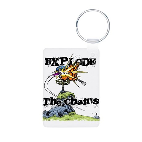 Disc Golf EXPLODE THE CHAINS Aluminum Photo Keycha