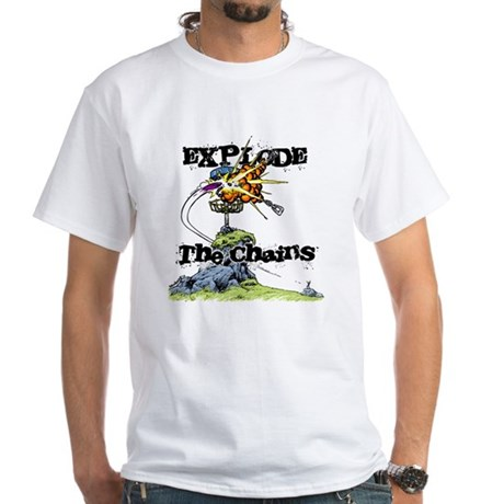 Disc Golf EXPLODE THE CHAINS White T-Shirt