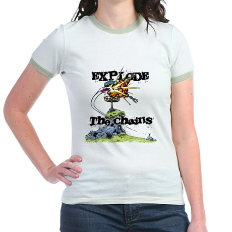 Disc Golf EXPLODE THE CHAINS Jr. Ringer T-Shirt