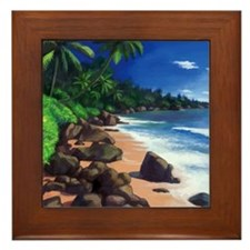 Beach Painting Framed Tile