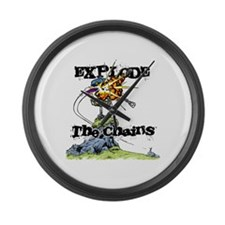 Disc Golf EXPLODE THE CHAINS Large Wall Clock