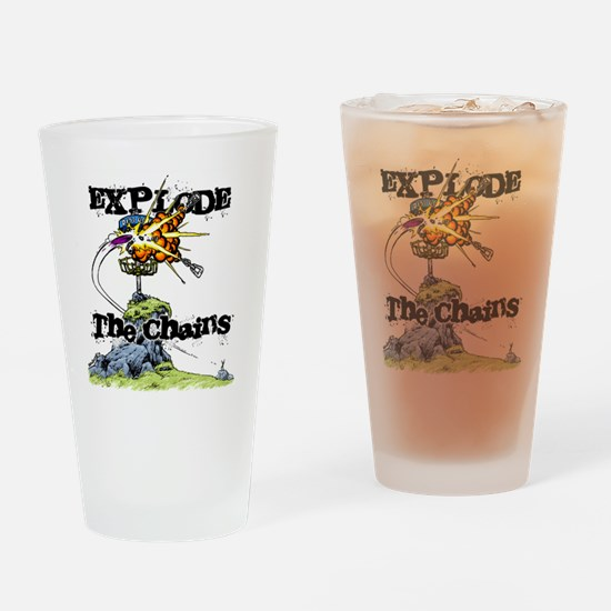 Disc Golf EXPLODE THE CHAINS Drinking Glass