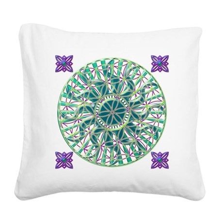 Sun Flower of Life Square Canvas Pillow