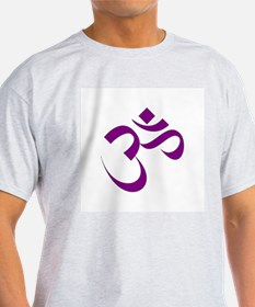 The Purple Aum/Om Ash Grey T-Shirt