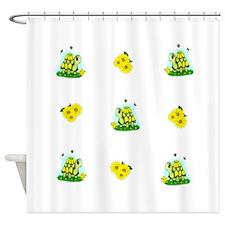 Turtle Sunflower and Butterflies Shower Curtain