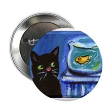 Black cat eyes goldfish Button