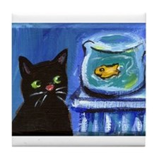 Black cat eyes goldfish Tile Coaster