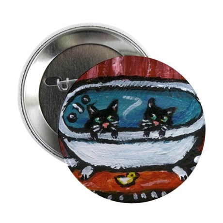 "Black cat red bathroom 2.25"" Button (10 pack)"