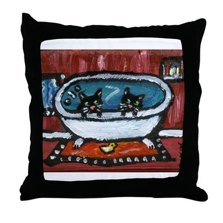Black cat red bathroom Throw Pillow