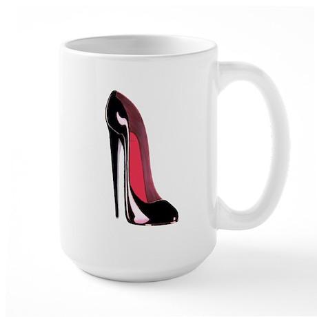Black Stiletto Shoe Art Large Mug
