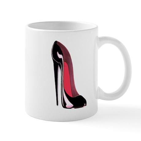 Black Stiletto Shoe Art Mug