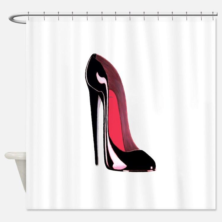 Black Stiletto Shoe Art Shower Curtain