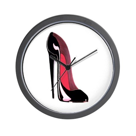Black Stiletto Shoe Art Wall Clock