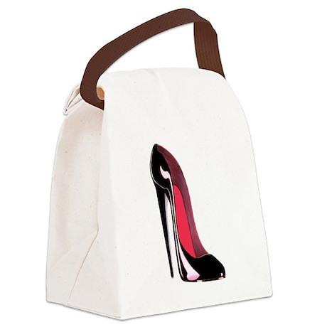 Black Stiletto Shoe Art Canvas Lunch Bag