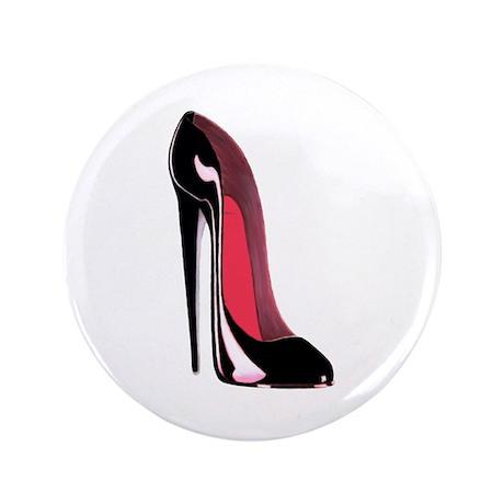 """Black Stiletto Shoe Art 3.5"""" Button (100 pack"""