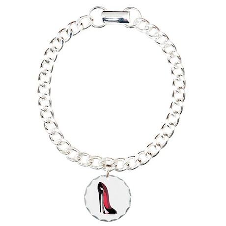 Black Stiletto Shoe Art Charm Bracelet, One Charm