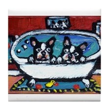 French Bulldog red bathroom Tile Coaster