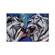 white bulldog kiss Rectangle Magnet
