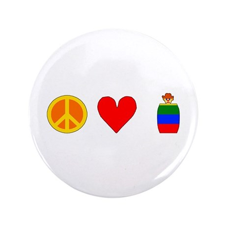 """Peace Love Rodeo Clowns 3.5"""" Button (100 pack)"""
