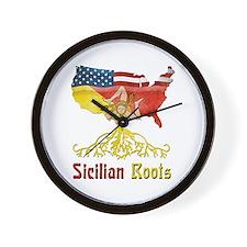 American Sicilian Roots Wall Clock