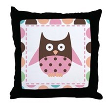 Cute Pink Mod Owl Throw Pillow