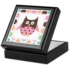 Cute Pink Mod Owl Keepsake Box