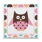 Cute Pink Mod Owl Tile Coaster