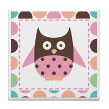 Cute Pink Mod Owl Tile Coaster