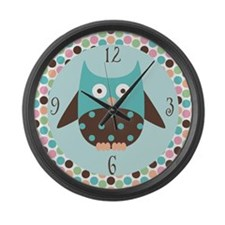 Cute Owl With Mod Dots Large Wall Clock